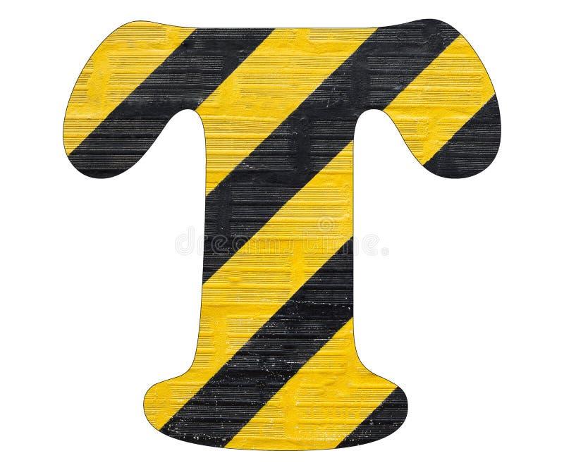 Gelbe und schwarze Linien des Buchstaben T - Weißer Hintergrund stockbilder