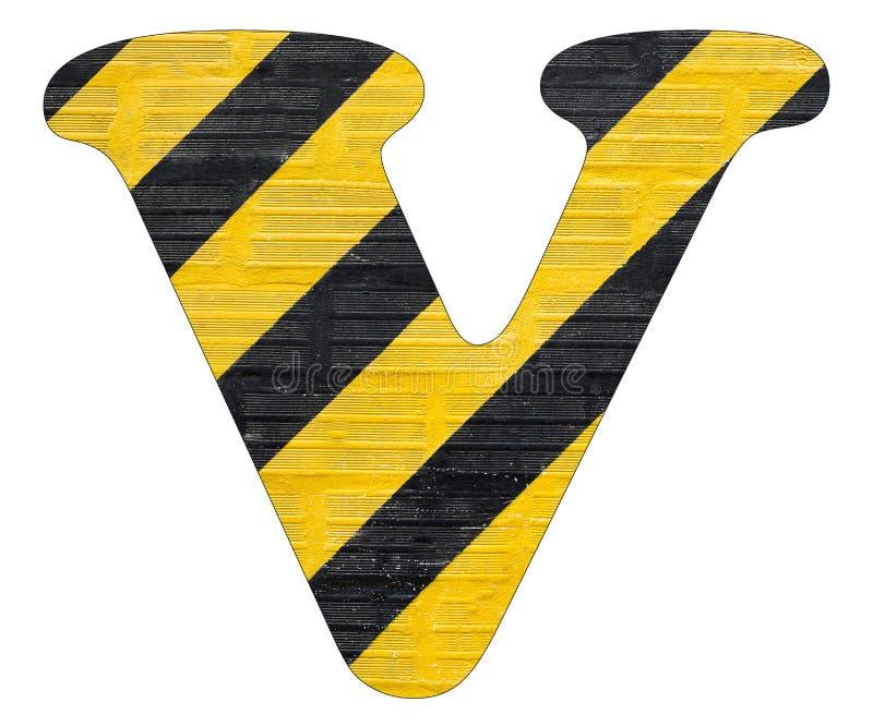 Gelbe und schwarze Linien des Buchstaben V - Weißer Hintergrund stockbilder