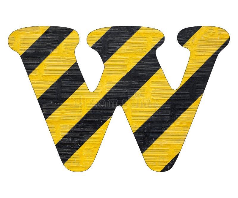 Gelbe und schwarze Linien des Buchstaben W - Weißer Hintergrund lizenzfreie stockfotos
