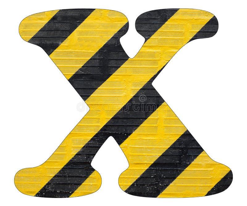 Gelbe und schwarze Linien des Buchstaben X - Weißer Hintergrund stockbilder
