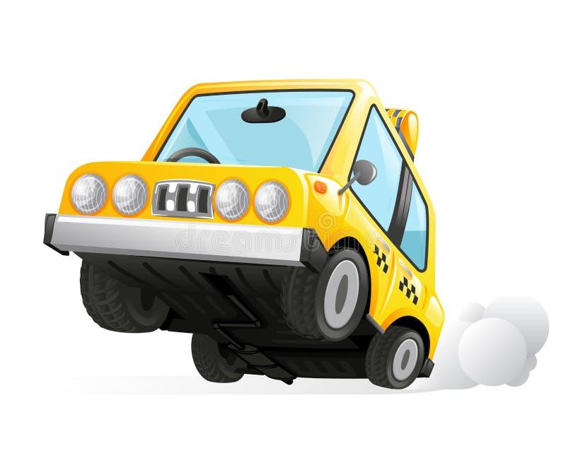Gelbe Vektor-Illustration des Fahrerhaus-Taxi-Auto-Ikonen-Transport-Stadt-städtische Automobil-Ikone lokalisierte realistische De lizenzfreie abbildung