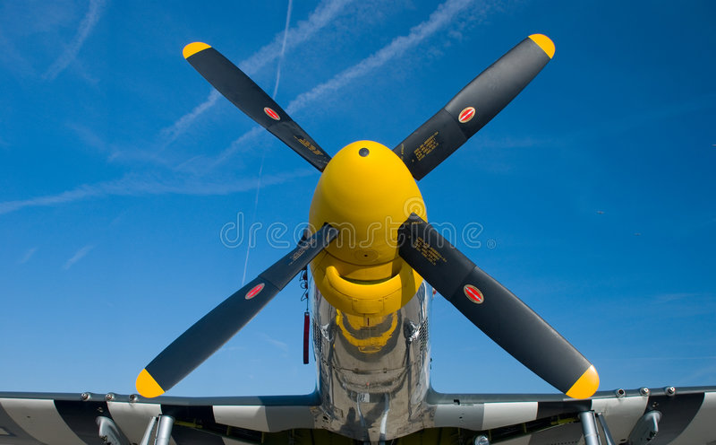 Gelbe Wekzeugspritze eines Mustangs P-51 lizenzfreies stockfoto