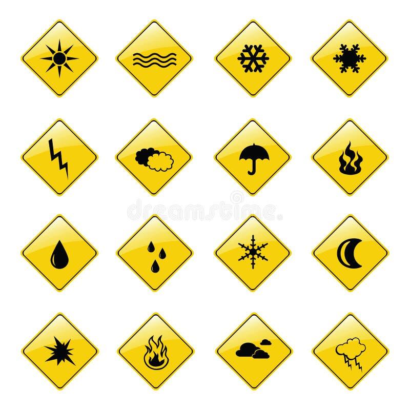 Gelbe Wetterzeichenikonen stock abbildung