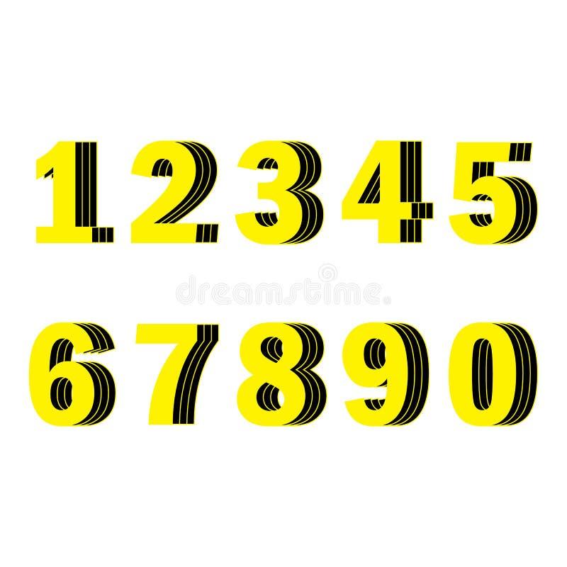 Gelbe Zahlen von einer bis zehn lizenzfreie abbildung