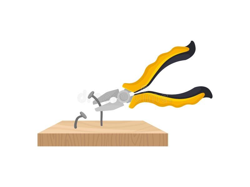 Gelbe Zangen ziehen die Nägel die hölzerne Planke heraus Vektorabbildung auf wei?em Hintergrund lizenzfreie abbildung