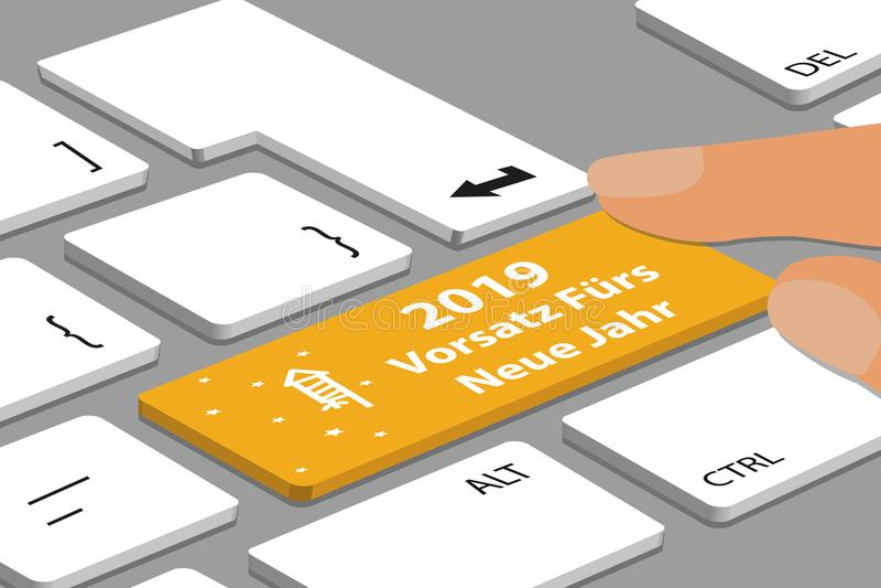 Gelben deutschen neuen YearÂs Knopf Entschließungs-2019 mit Kracher und Sternen auf Computer oder Laptop - Vektor-Illustration lizenzfreie abbildung
