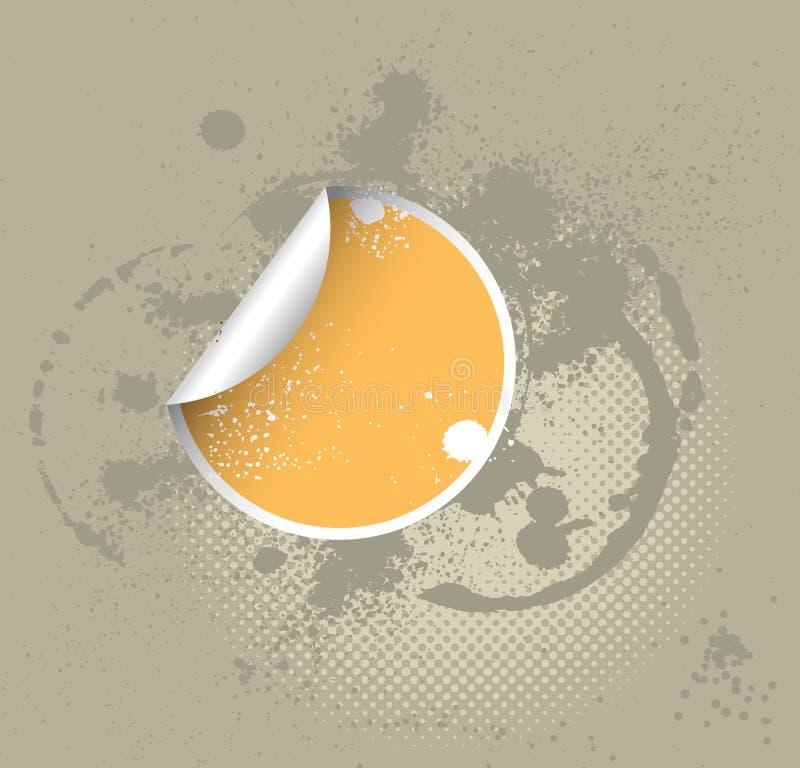 Gelber Aufkleber auf einem grunge lizenzfreie abbildung