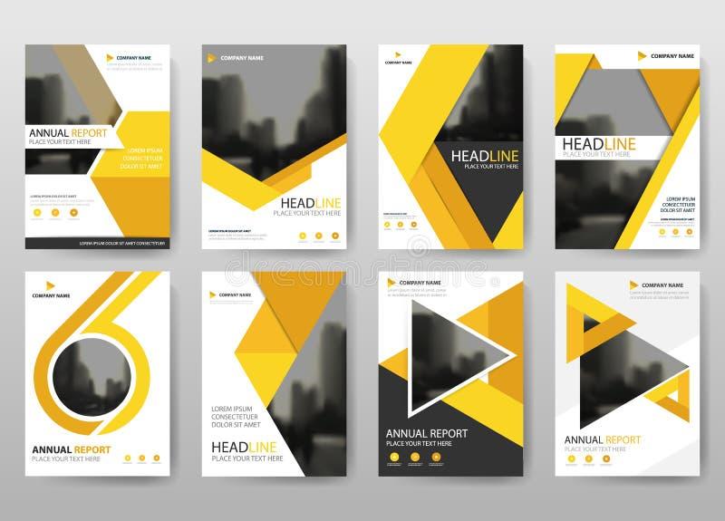 Gelber Bündeljahresberichtbroschürenfliegerdesign-Schablonenvektor, flacher Hintergrund der Broschürenabdeckungsdarstellungs-Zusa stock abbildung