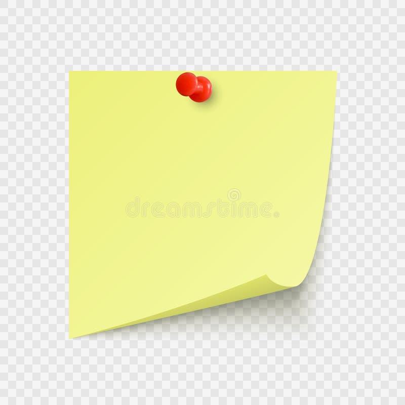 Gelber Büroaufkleber mit Raum für Text oder Mitteilung gehaftet durch neeples, um zu ummauern Auch im corel abgehobenen Betrag lizenzfreie abbildung