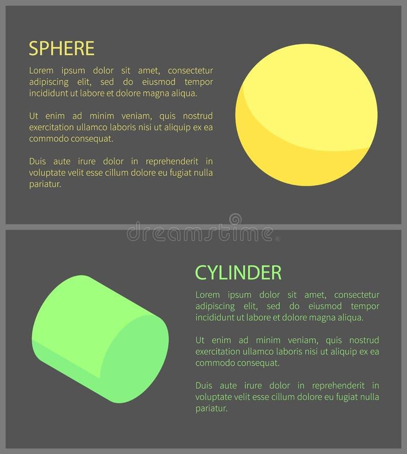 Gelber Bereich und grüner Zylinder, geometrischer Satz lizenzfreie abbildung