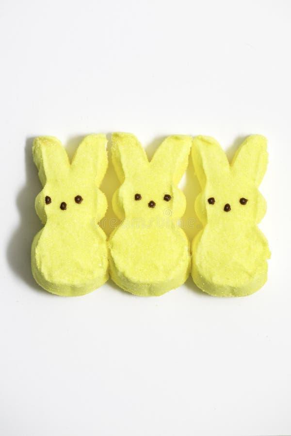 Gelber Bunny Marshmallows lizenzfreie stockfotos