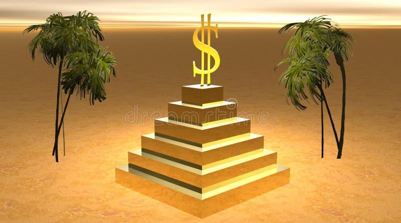 Gelber Dollar auf einer Pyramide in der Wüste vektor abbildung