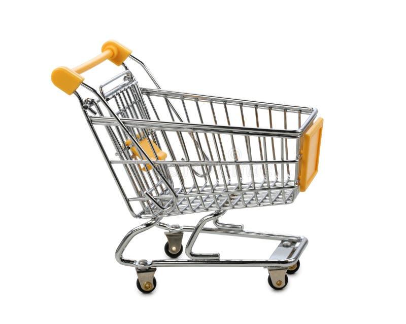 Gelber Einkaufswagen stockfoto