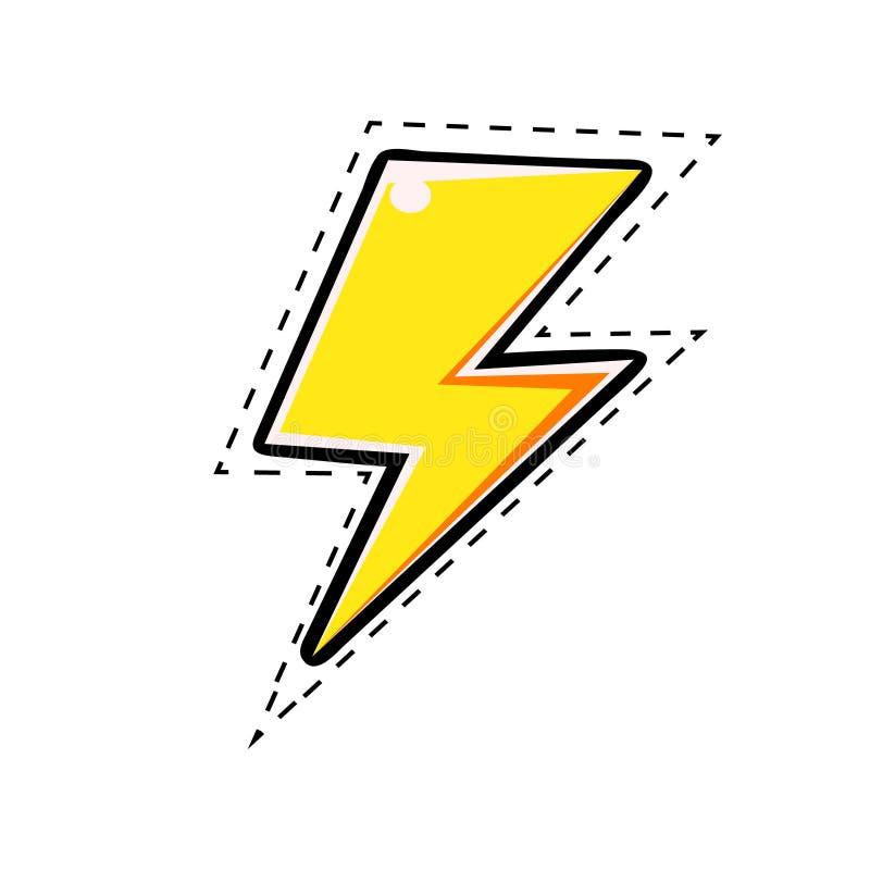 Gelber elektrischer Blitzbolzen, vector komische Illustration im Pop-Arten-Retrostil vektor abbildung