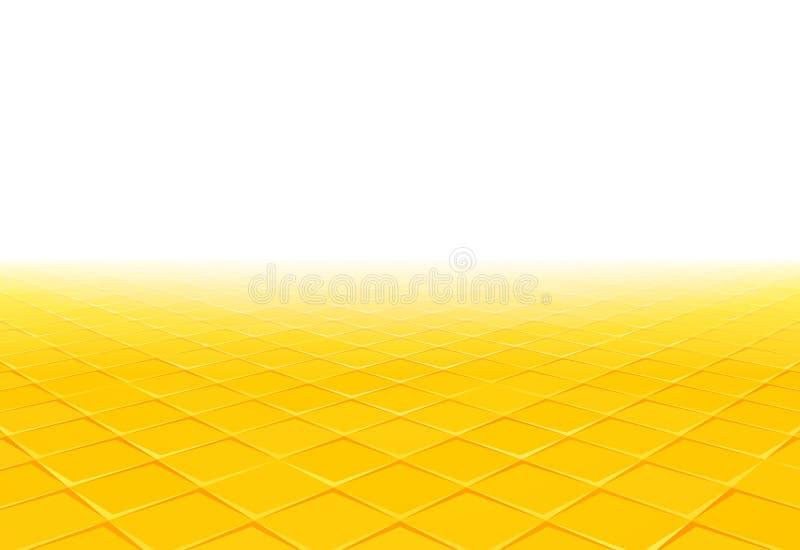 Gelber Fliesenperspektivenhintergrund lizenzfreie abbildung