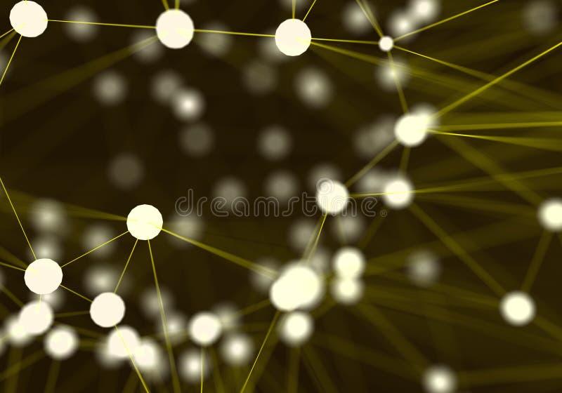 Gelber futuristischer abstrakter Netzknotenhintergrund technologie lizenzfreie abbildung