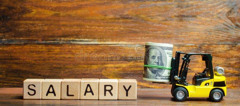 Gelber Gabelstapler transportiert ein Bündel Dollar zum Aufschrift Gehalt Gehalts- und Lohnerhöhung, ein attraktives schaffend stockbild