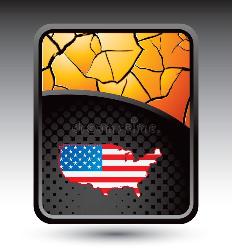 Gelber gebrochener Hintergrund mit amerikanischer Flagge lizenzfreie abbildung