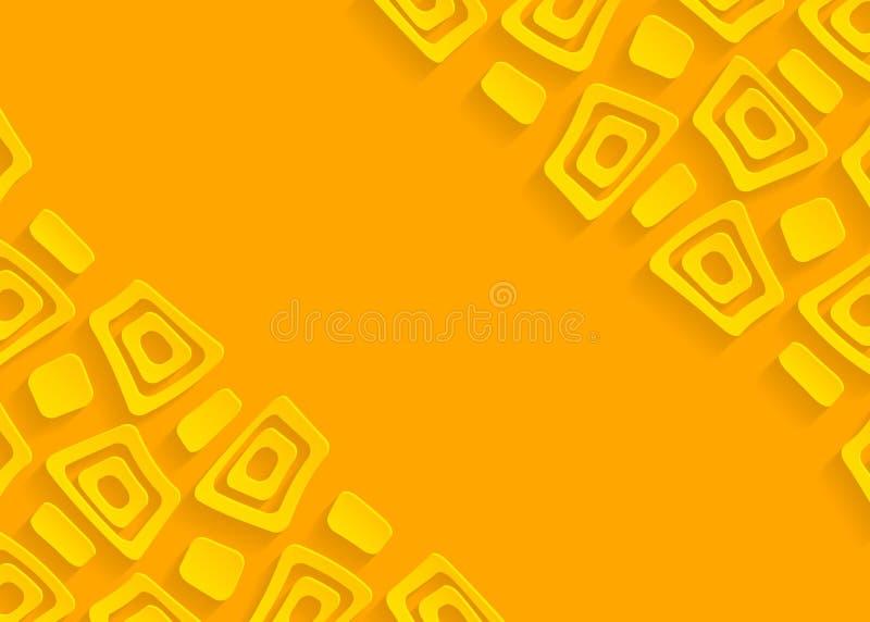 Gelber geometrischer abstrakter Papierhintergrund stock abbildung