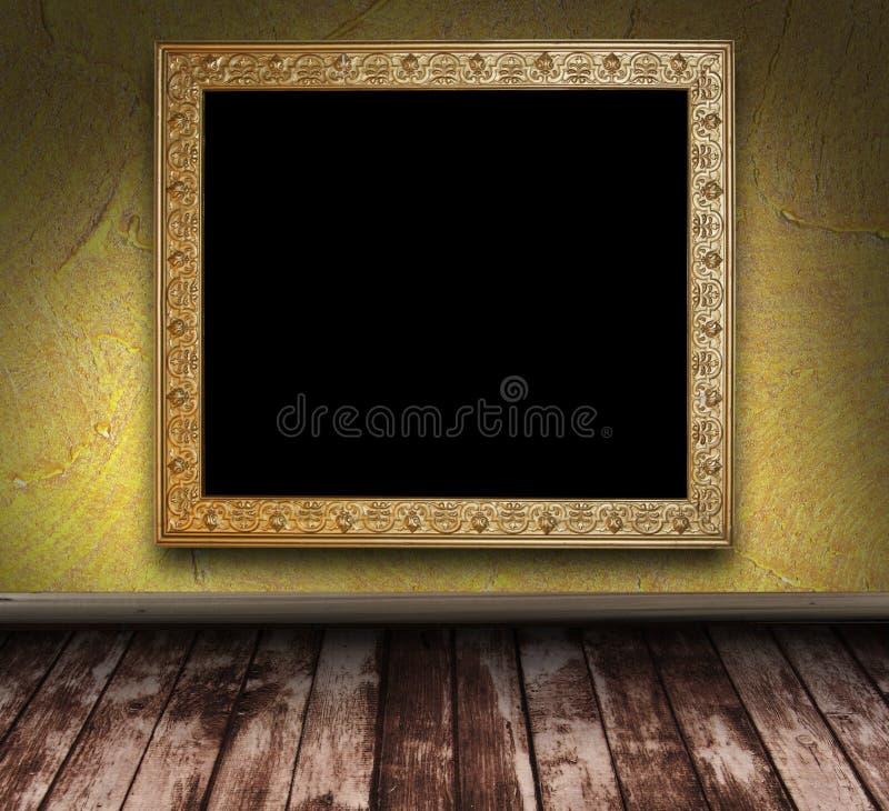 Gelber grunge Raum mit Bilderrahmen lizenzfreie abbildung