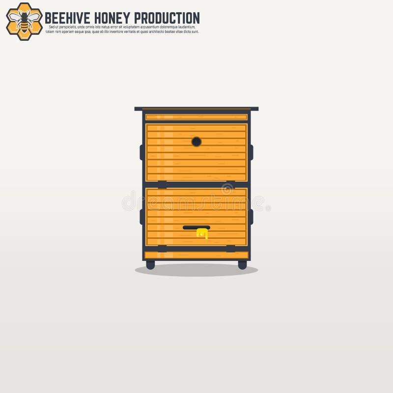 Gelber hölzerner moderner Rahmenbienenstock stock abbildung