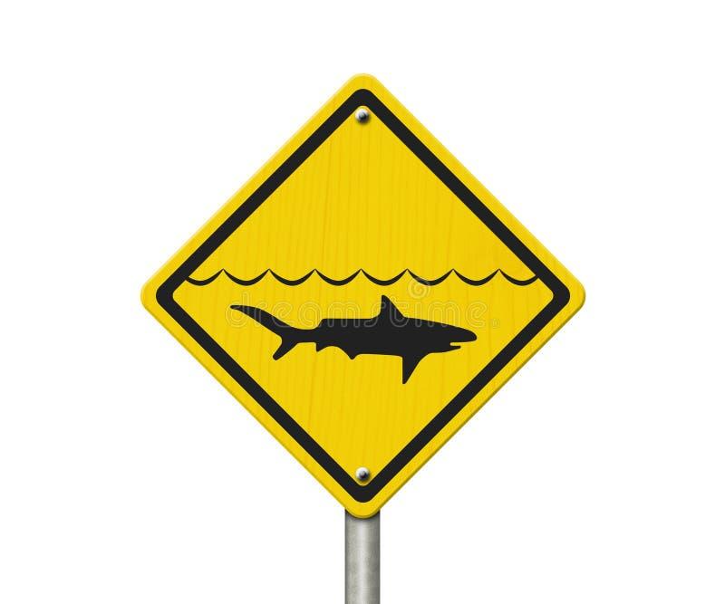 Gelber Haifisch-Warnzeichen lizenzfreies stockbild