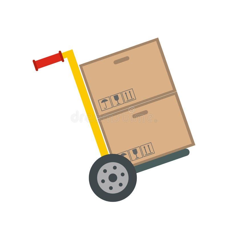 Gelber Handwarenkorb mit Pappschachteln stock abbildung