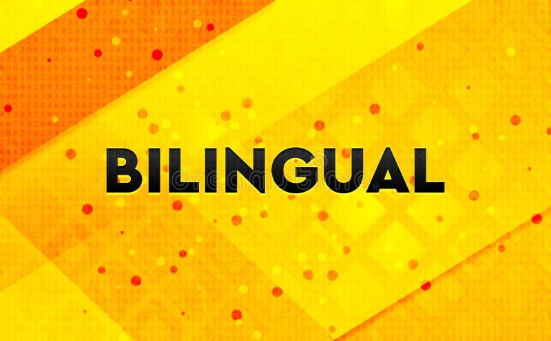 Gelber Hintergrund der zweisprachigen abstrakten digitalen Fahne stock abbildung