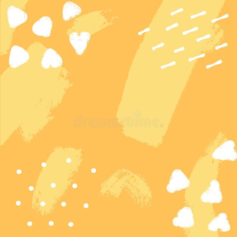 Gelber Hintergrund des Vektors mit Bürstenanschlägen Handgezogener abstrakter Hintergrund und geometrische Elemente Moderner Ausz lizenzfreie stockfotografie