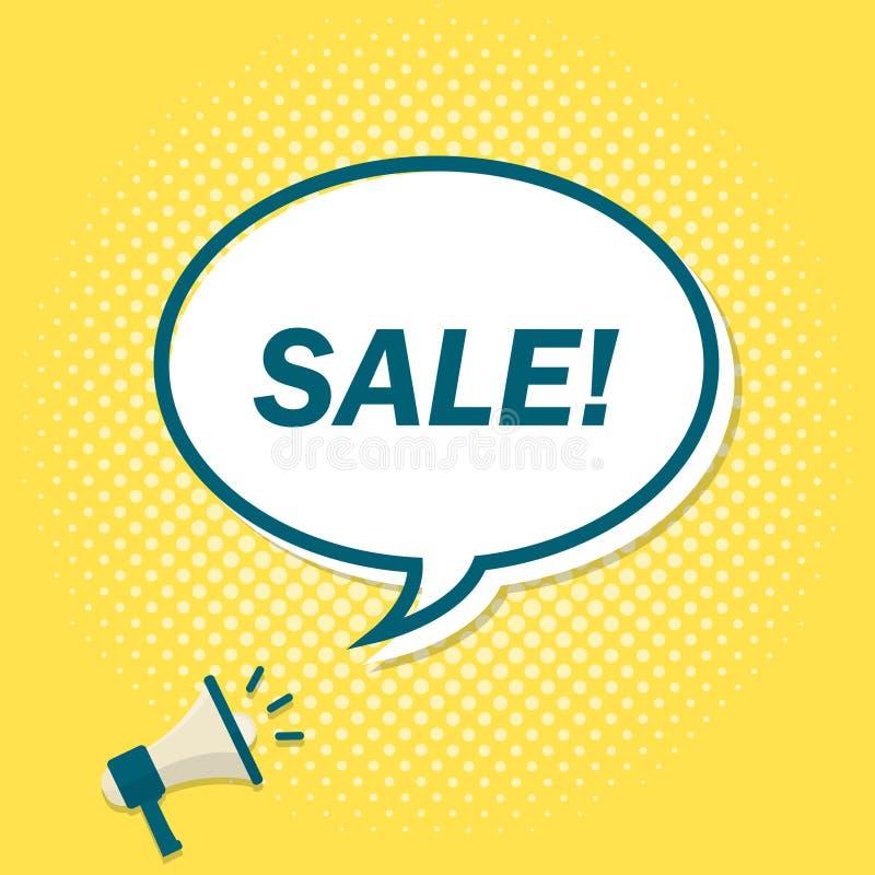 Gelber Hintergrund mit dem Megaphon, das Text in der Spracheblase ankündigt Verkauf stock abbildung