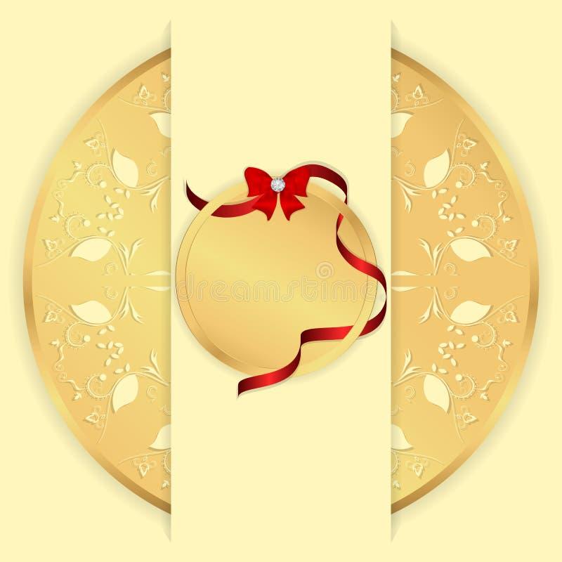 Gelber Hintergrund mit einer Goldverzierung eine runde, vertikale Fahne und ein rundes Tag mit einem roten Band und einem Bogen V stock abbildung