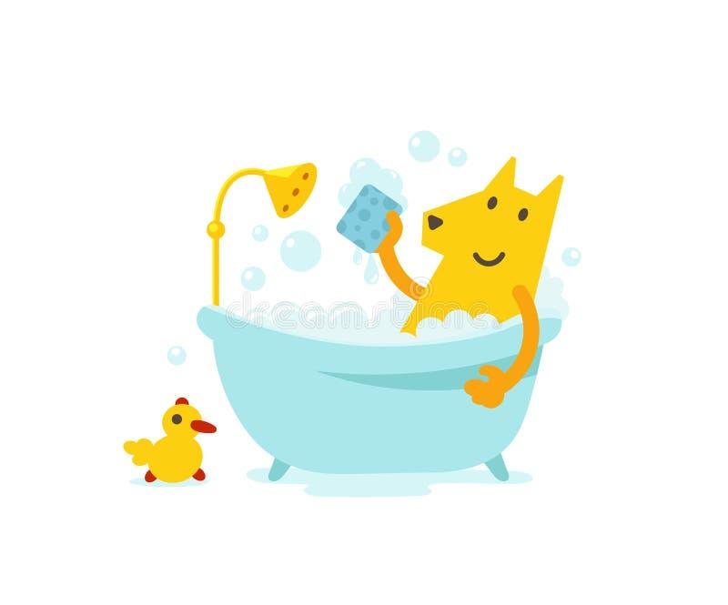 Gelber Hundepflegen Netter Hund der Hygiene, der ein Hunde- Bad nimmt Vektorkarikatur-Artillustration lizenzfreie abbildung