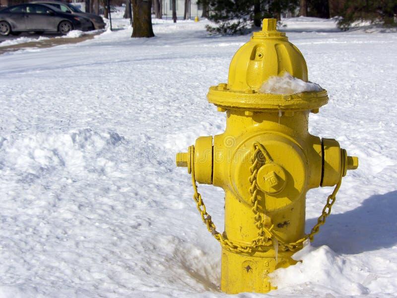 Gelber Hydrant im Schnee stockbilder