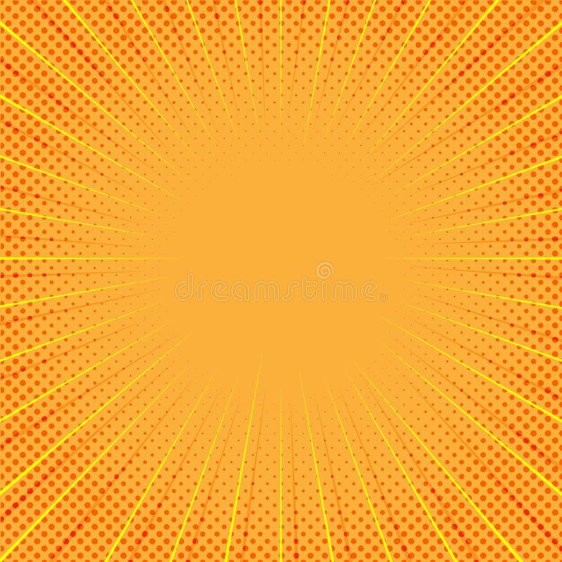 Gelber komischer Hintergrund mit Linien des lauten Summens und Halbton-Dots Pattern vektor abbildung