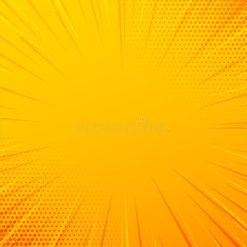 Gelber komischer Zoom zeichnet Hintergrund lizenzfreie abbildung