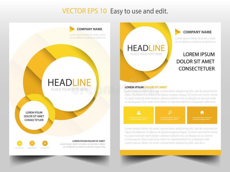 Gelber Kreisjahresbericht Broschürendesign-Schablonenvektor Infographic Zeitschriftenplakat der Geschäfts-Flieger Abstrakte Plans vektor abbildung