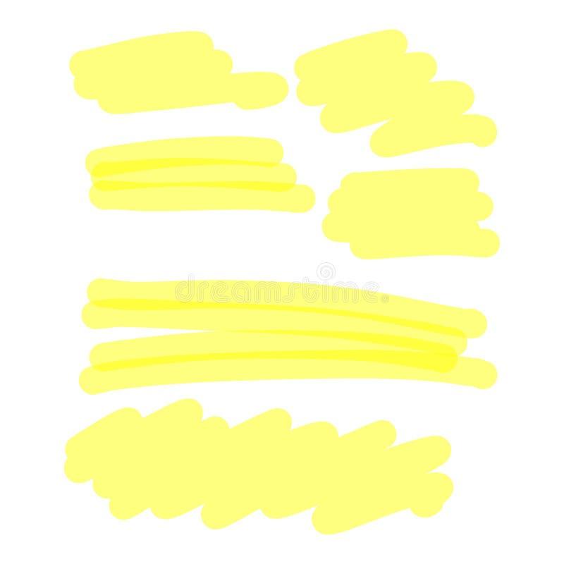 Gelber Leuchtmarkersammlungsvektorillustrationsskizzen-Handdr. lizenzfreie abbildung