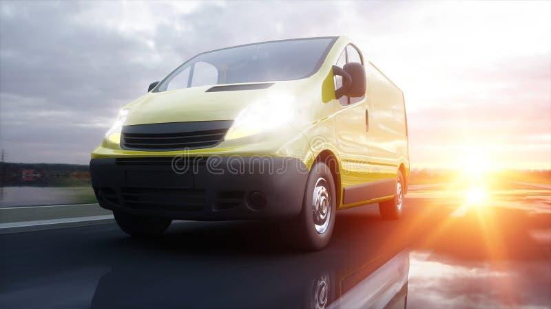 Gelber Lieferwagen auf Landstraße Sehr schnelles Fahren Transport und logistisches Konzept Wiedergabe 3d lizenzfreie abbildung