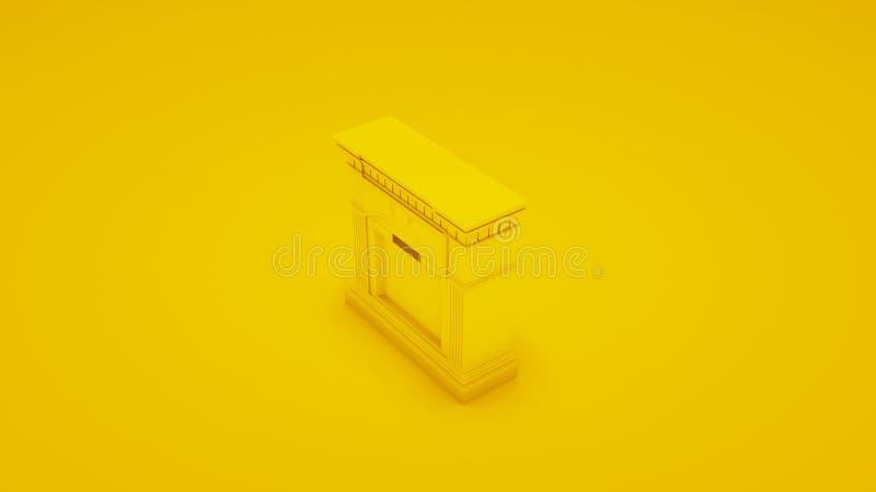 Gelber moderner Kamin Abbildung 3D vektor abbildung