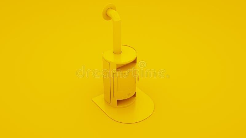 Gelber moderner Kamin Abbildung 3D lizenzfreie abbildung