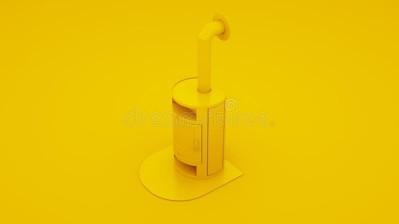 Gelber moderner Kamin mit Kaminrohr Abbildung 3D lizenzfreie abbildung