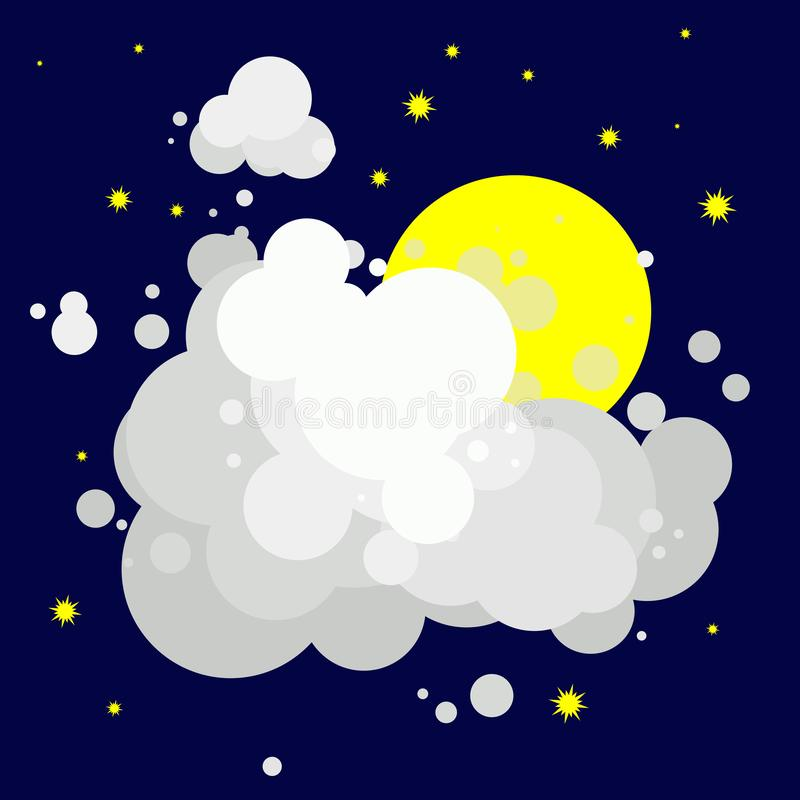 Gelber Mond mit den Sternen versteckt hinter weißen grauen Wolken, Nacht stock abbildung