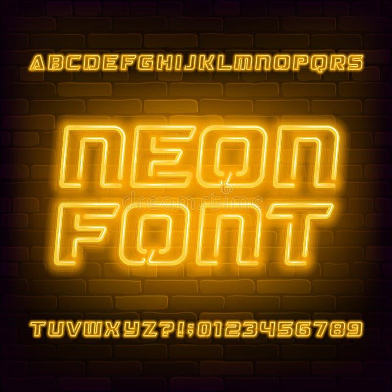 Gelber Neonalphabetgu? Futuristische Gro?buchstaben und Zahlen der Gl?hlampe stock abbildung