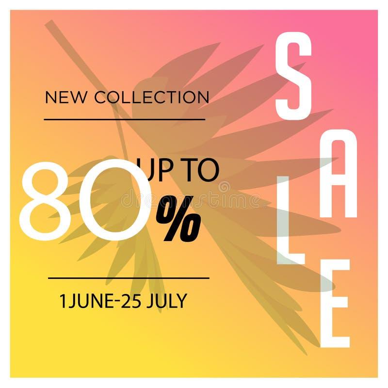 Gelber 80% neuer Sammlung Verkaufsfahnen-Schablonenentwurf Sonderangebot des gro?en Verkaufs Sonderangebotfahne 80% Sammlung für  vektor abbildung