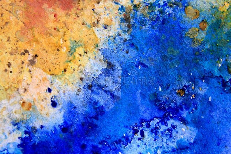 Gelber Ocker mit blauen Aquarell-Beschaffenheiten 6 vektor abbildung
