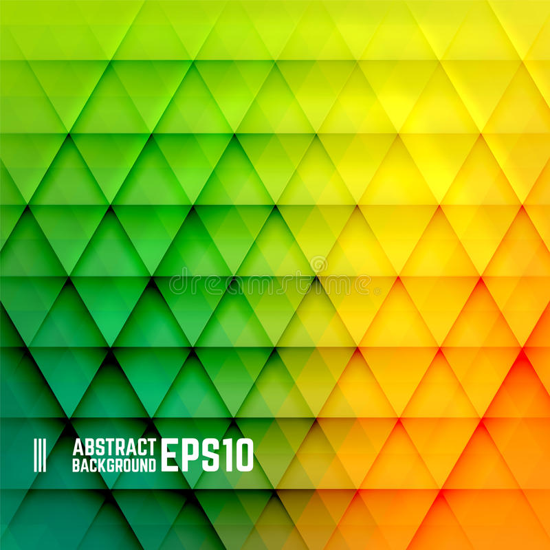 Gelber, orange und grüner abstrakter Dreieckhintergrund stock abbildung