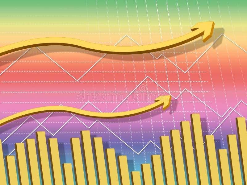 Gelber Pfeil-Hintergrund zeigt sich Zunahme und Daten lizenzfreie abbildung