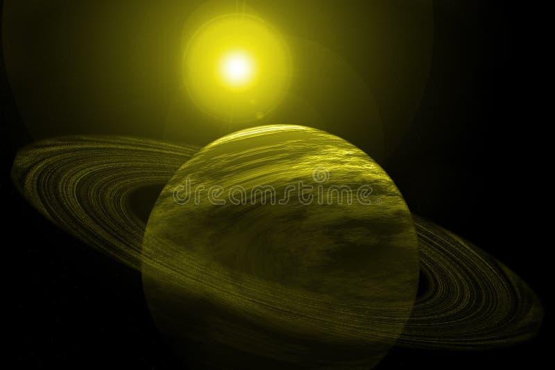 Gelber Planet mit Ringen, Sternen und Sun lizenzfreie abbildung