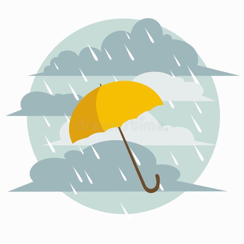 Gelber Regenschirm vektor abbildung