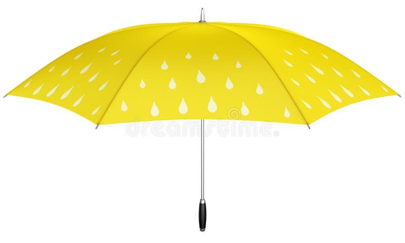 Gelber Regenschirm mit Regentropfen lizenzfreie abbildung